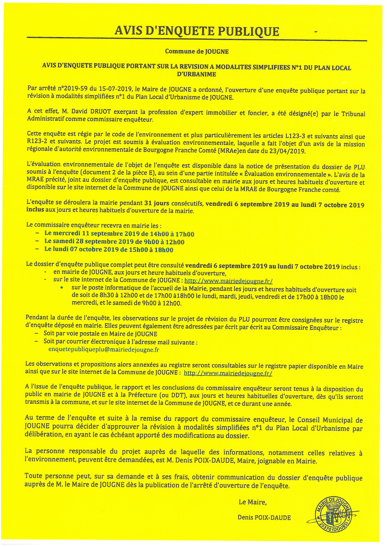 PLU - Avis d'enquête publique