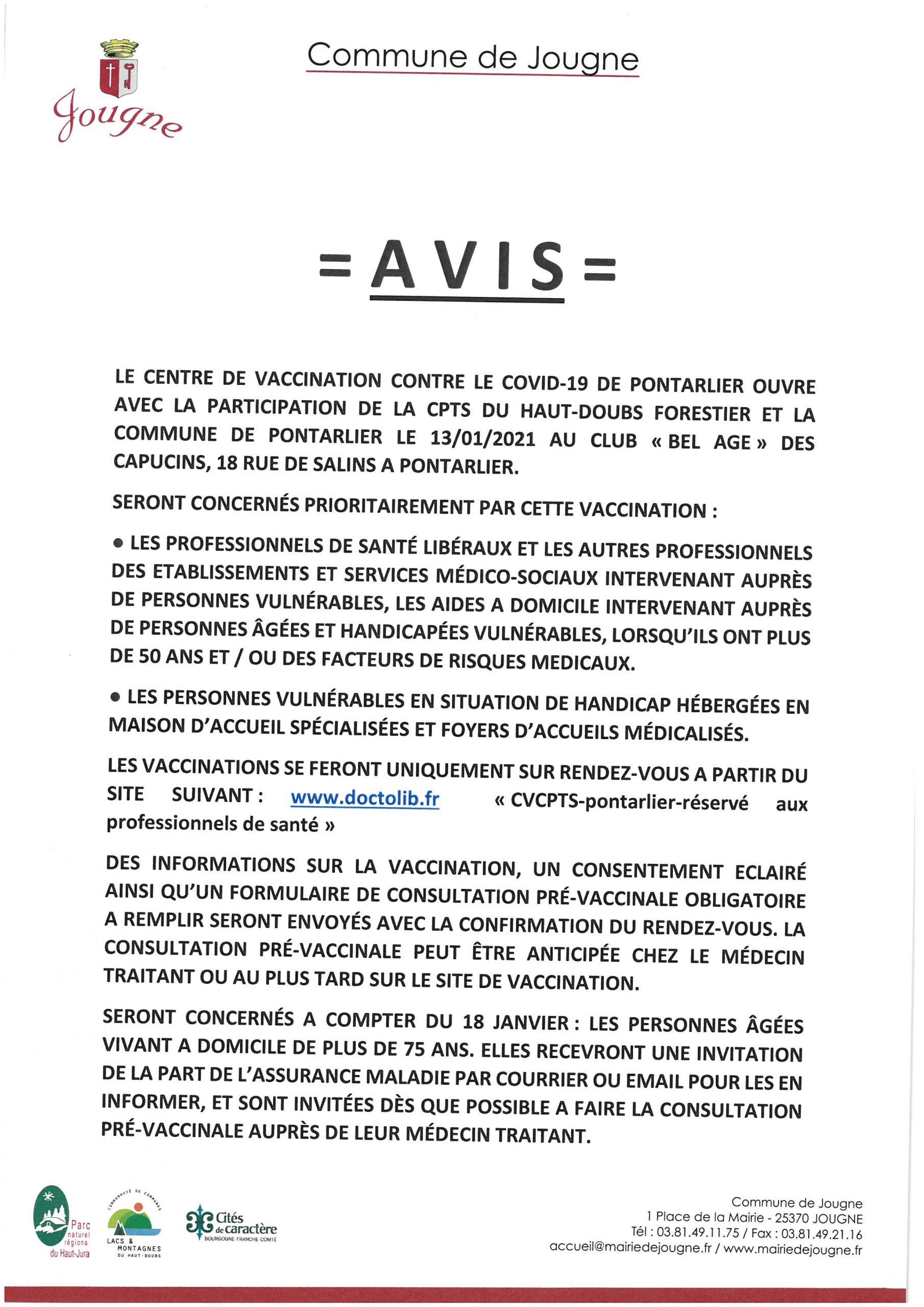 AVIS : Vaccination Covid Centre de Pontarlier