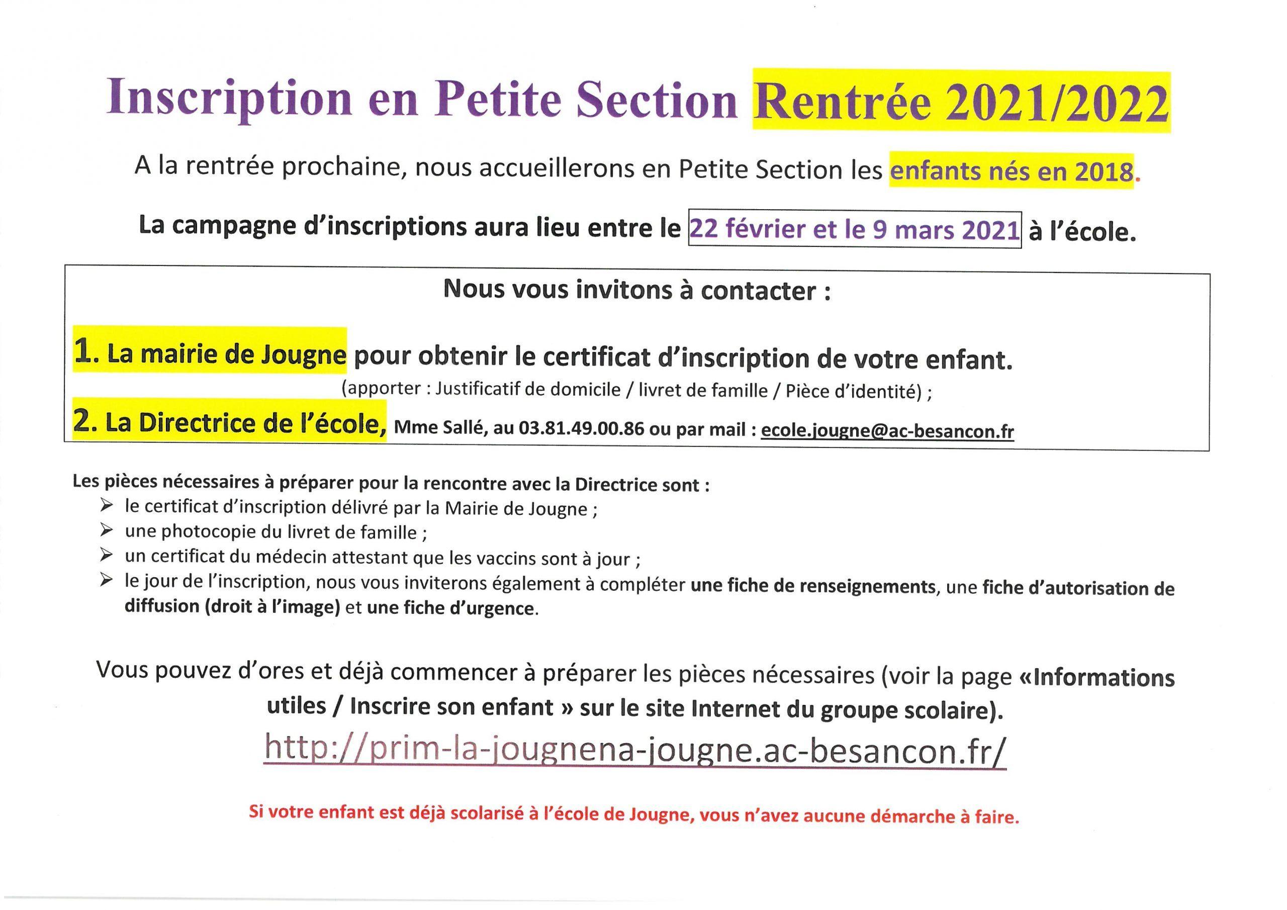 Inscription en Petite section Jougne Rentrée 2021-2022
